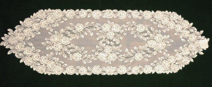 Tea Rose Table Runner 14x48 Ecru Heritage Lace