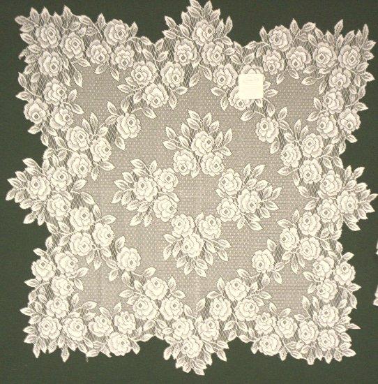 Tea Rose Table Topper 30x30 Ecru Heritage Lace