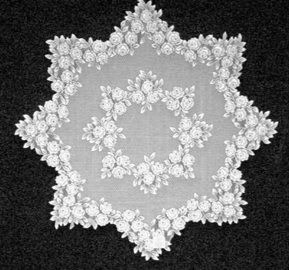 Tea Rose Table Topper 42 in Round  White Heritage Lace