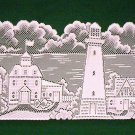 Lighthouse With Sailboats Table Runner  14 x 36  White