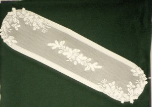 Table Runner Winter Greens Table Linens 14 x 58  Ecru Heritage Lace