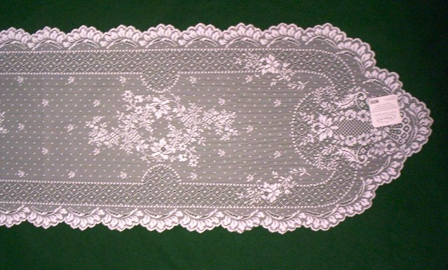 Floret Table Runner 14 x 55 White Heritage Lace