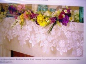Mantle Scarf Tea Rose 20 x 90 Ecru Mantel Scarf  Heritage Lace
