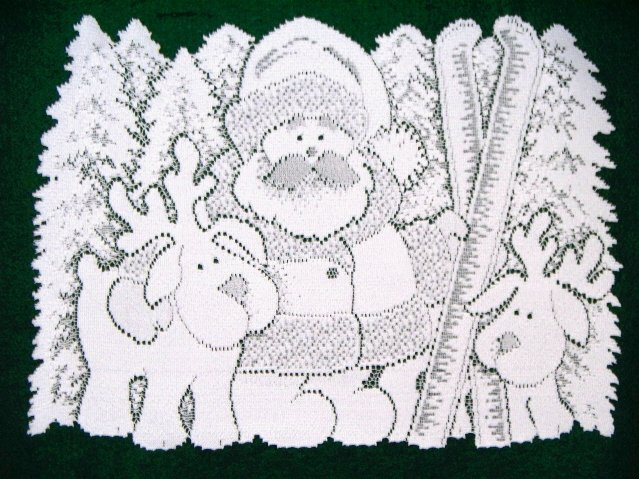 Skiing Santa Placemats White 14x20 Set Of (4) Placemats Heritage Lace