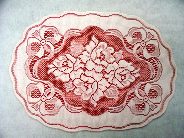 Set of (4) Roses and Bows Placemats/Doilies White Lace On Red Fabric Backing