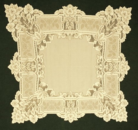 Heirloom Pattern Table Topper Antique Gold Color 35 x 35 Inches