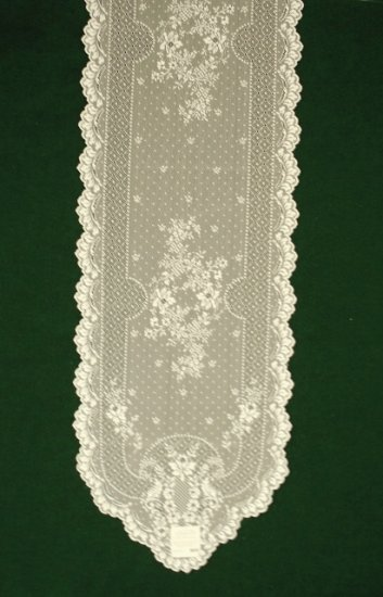 Floret Table Runner 14 Inches x 72 Inches Ecru Heritage Lace