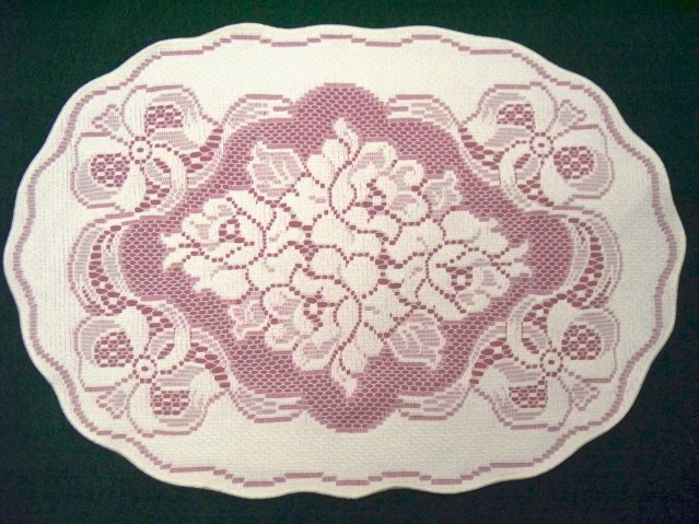 Roses N Bows Placemat/Doily Off-White Over Mauve 14x19 Set Of (4)