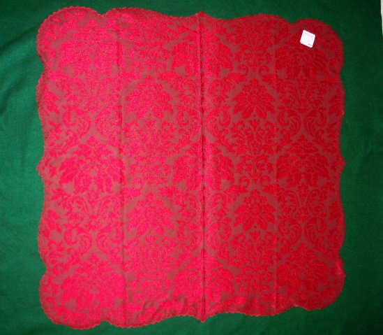 Heritage Damask Table Topper Red 42x42 Heritage Lace