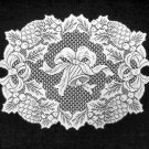 Bells and Holly Doily/Placemat 14 x 19 White Set Of (4)