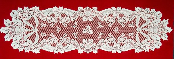 Table Runners Christmas Horns  14 x 54 White Heritage Lace