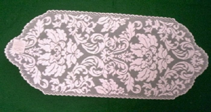 Heritage Damask Table Runner 14 x 34 Pearl Heritage Lace