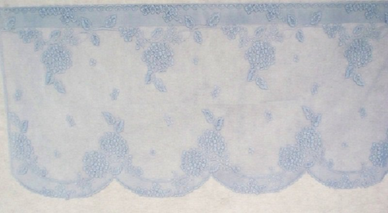Hydrangea Curtain Tier 62 Wide x 24 Long Sky Blue Color Heritage Lace