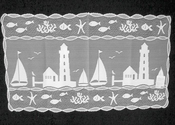 Heritage Lace Harbor Lights Table Runner Vibrant White 14 x 48 StunningPattern