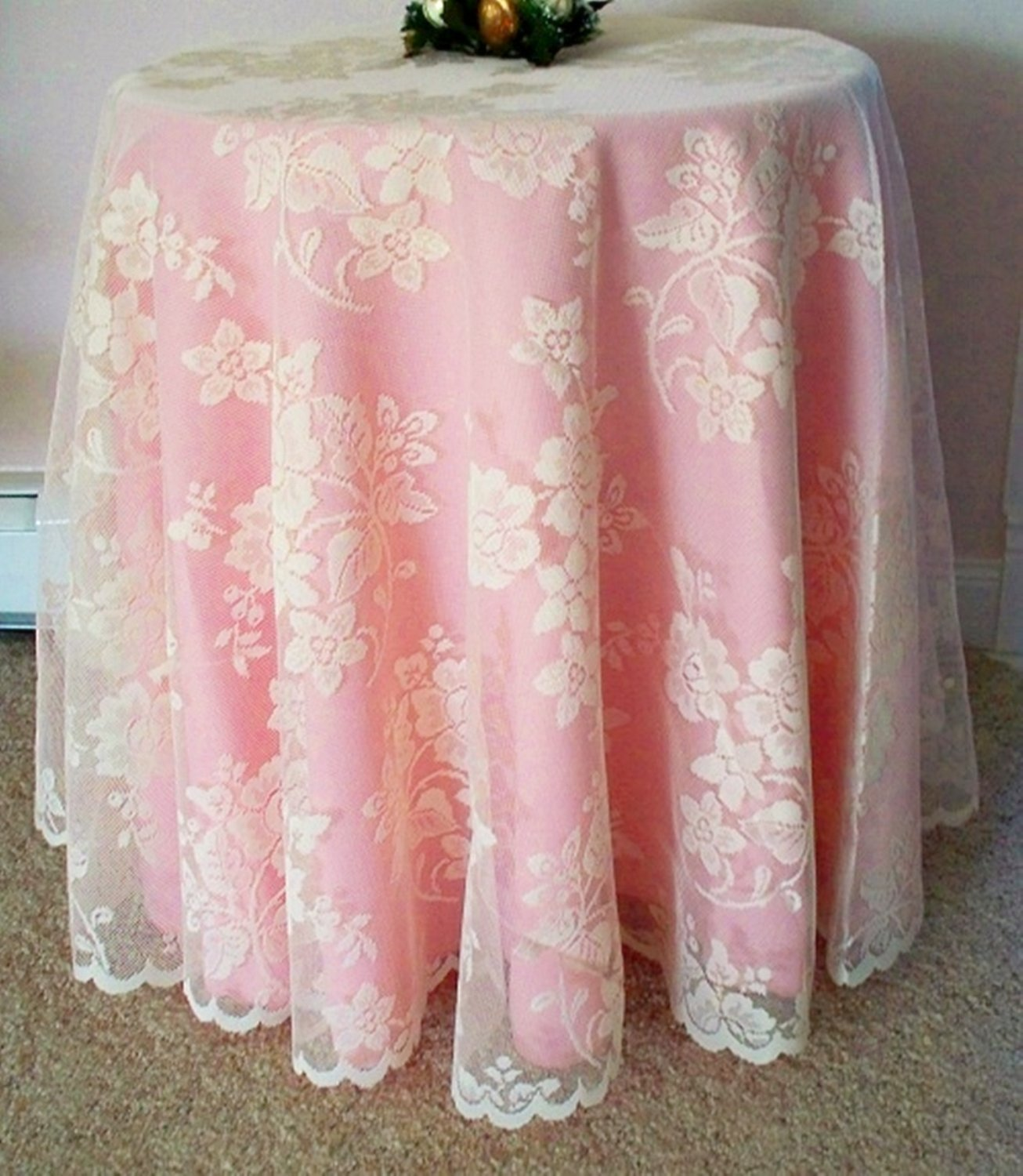 Round Lace Tablecloth Rose Bouquet 70 Inch Ivory Oxford House