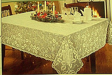 Holly Glow Tablecloth 52x70 Ivory Oxford House