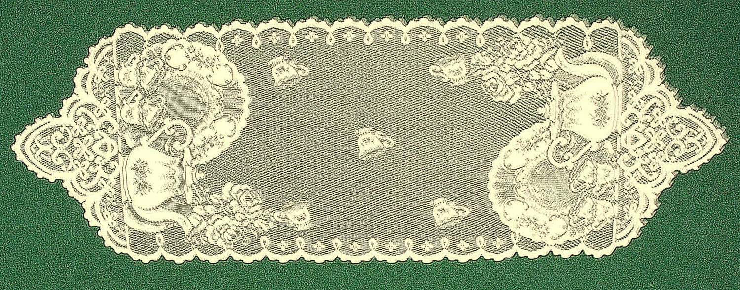 Tea Time 12x35 Ivory Table Runner Heritage Lace