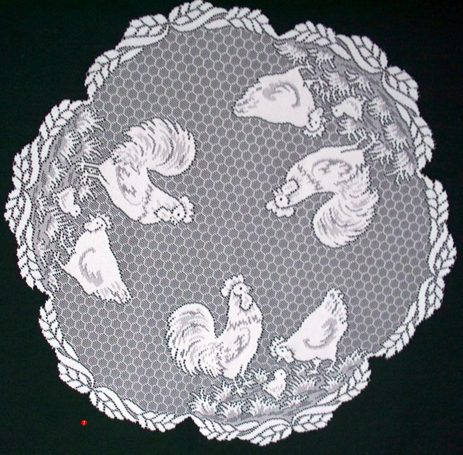 Table Topper Tablecloth Rooster Pattern 30 Inch Round White Heritage Lace