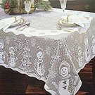 Tablecloth Snowman Family Rectangle 60x84 White Heritage Lace