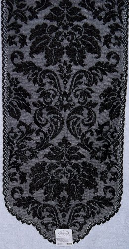 Table Runner Heritage Damask 14x34 Black Table Runner Heritage Lace