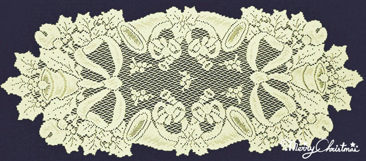 Table Runners Christmas Horns Table Table Linens 14 x 36 Ivory Heritage Lace