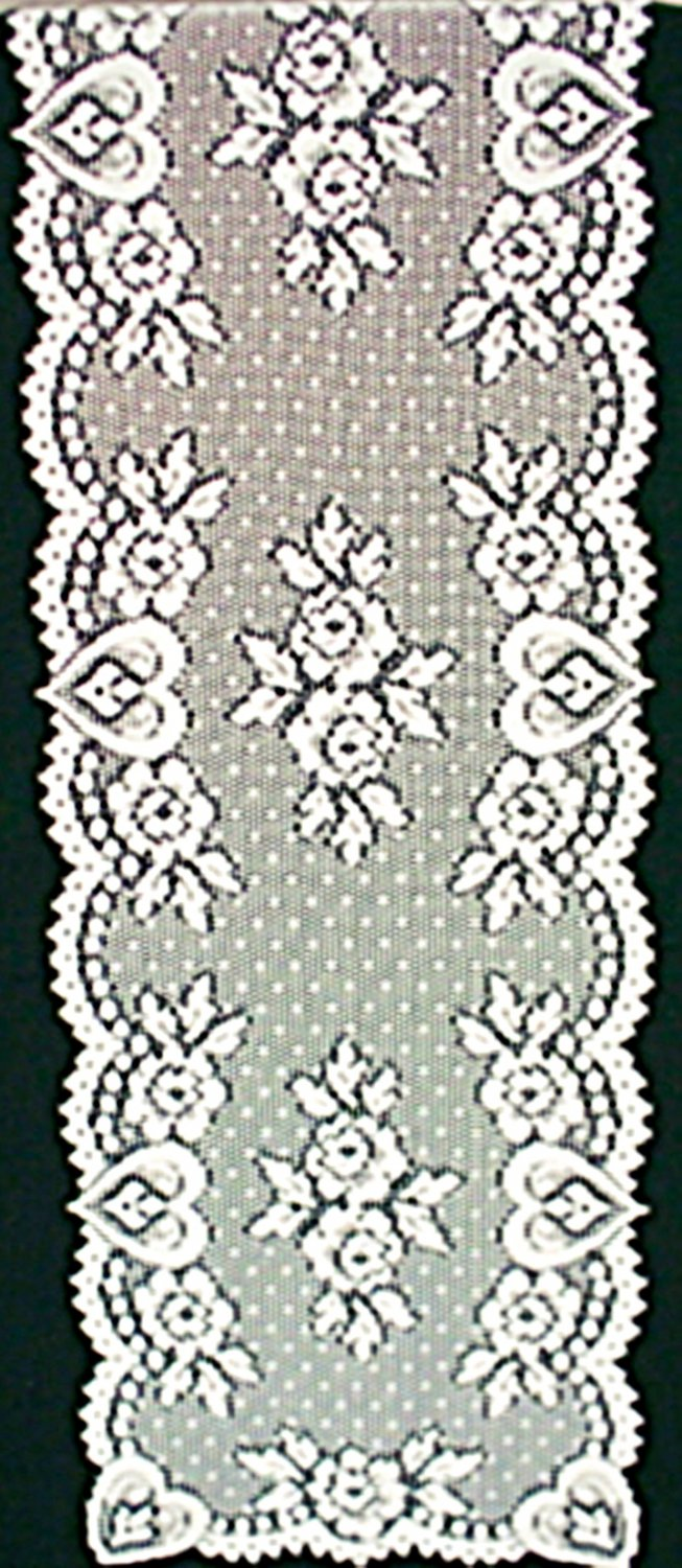 Heart and Flower Table Runner White 14 x 72 Heritage Lace