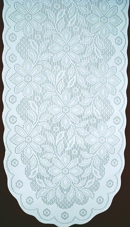 Gorgeous Poinsettia Table Runner White On White 13 x 76