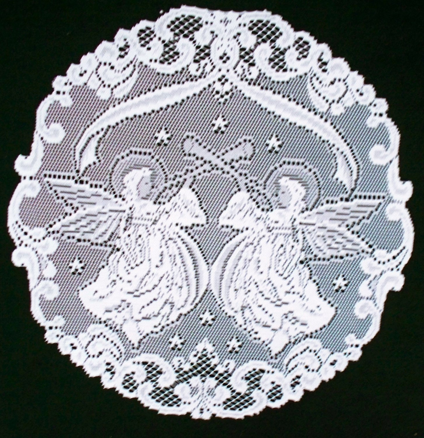Doily Victorian Angels White 20 Inch R Set Of (2 Round Doilies) Heritage Lace