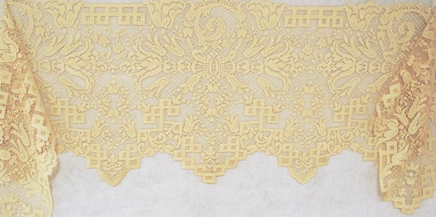 Mantel Scarf Empress 20 x 94 Antique Gold Fireplace Mantel Scarf Heritage Lace