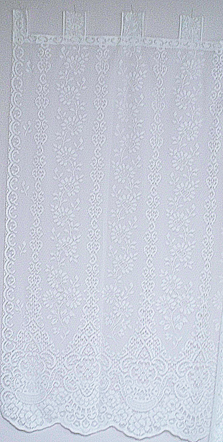 Curtains Daisy Pattern 62x63 White Lace Tab Style Curtain Panel Oxford House