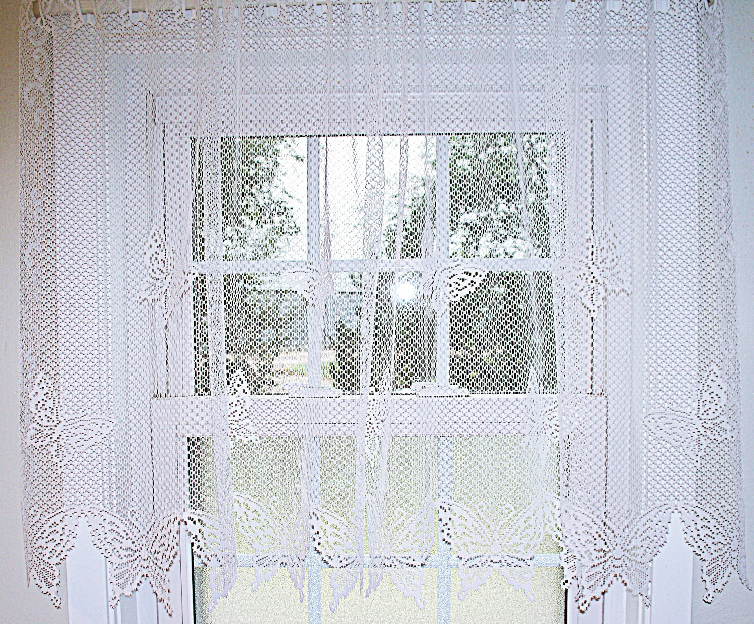 Butterflies Curtain Tier White 60x 30 Heritage Lace