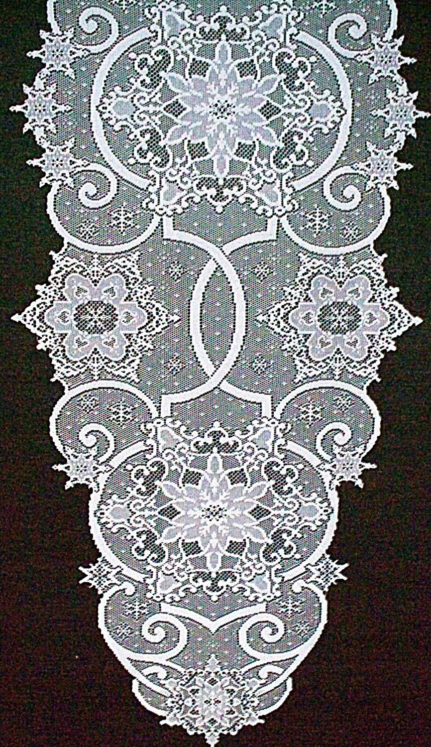 Snowflake Table Runner 19x65 White Lace Table Runner Heritage Lace