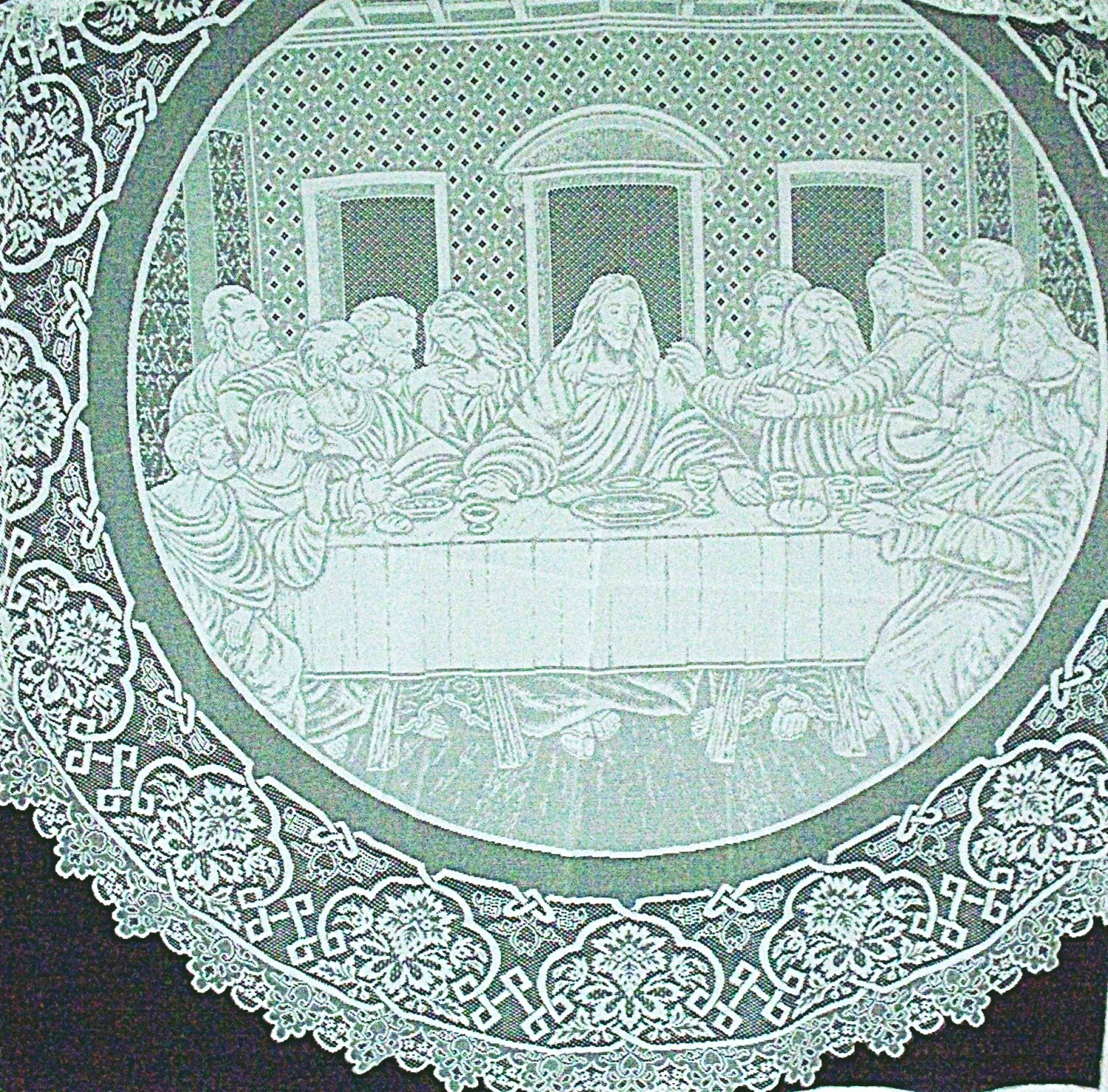 Round Tablecloth Last Supper White 72 Inches Round Tablecloth Oxford House