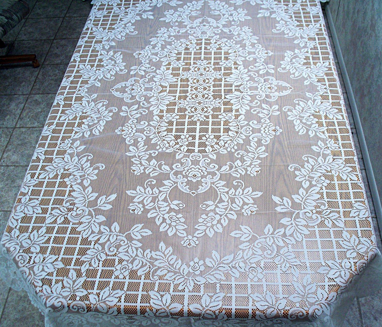 Tablecloth Trellis Rose Rectangle 60x84 White Oxford House