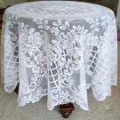 Tablecloth Round Trellis Rose 70 Inches Round White Oxford House