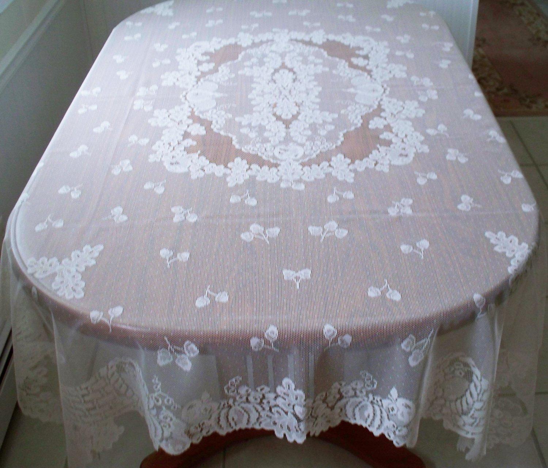 Cornucopia Tablecloth 60x84 Rectangle White Oxford House