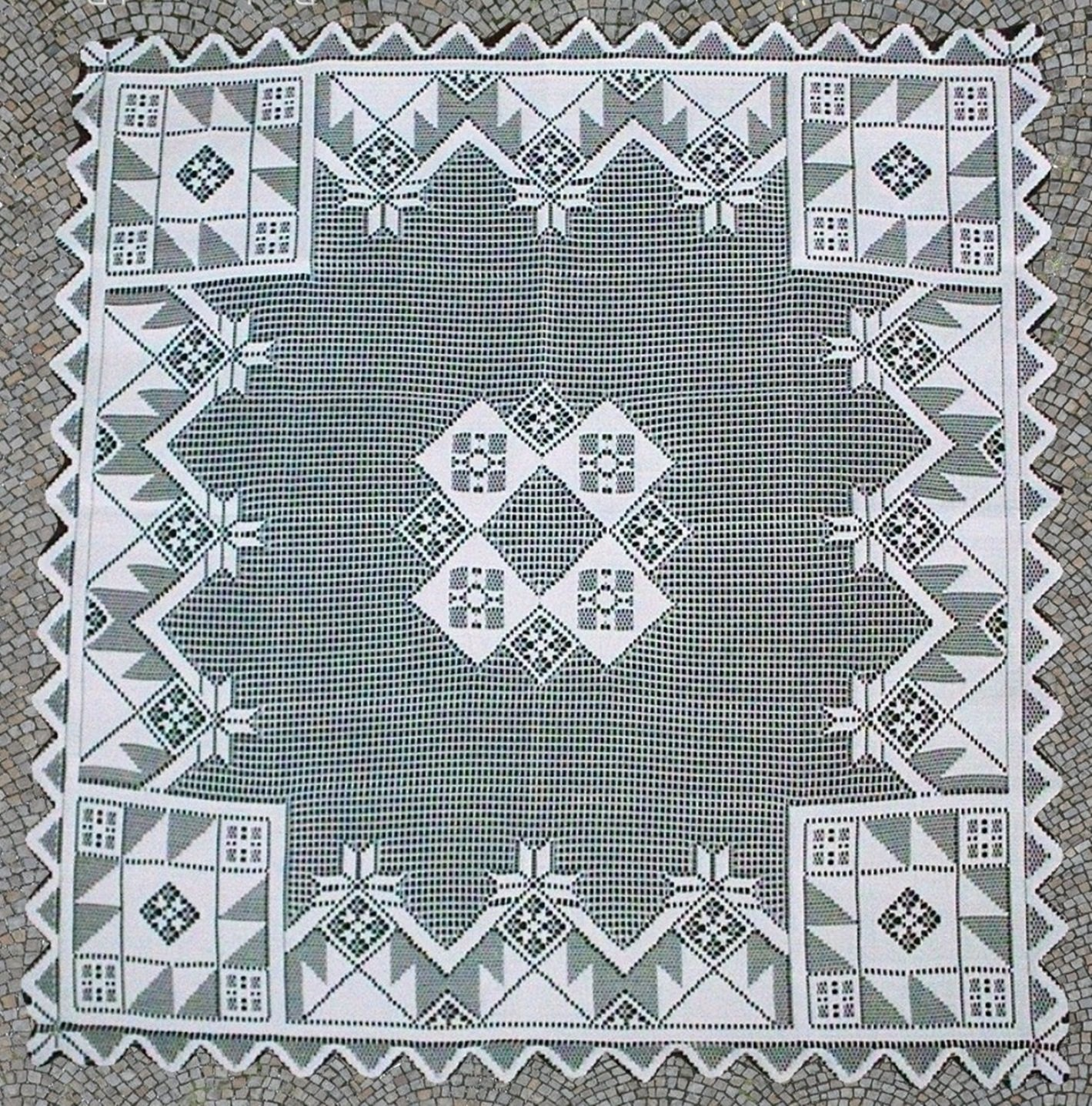Quilt Patch Square Table Topper 40x40 White Oxford House