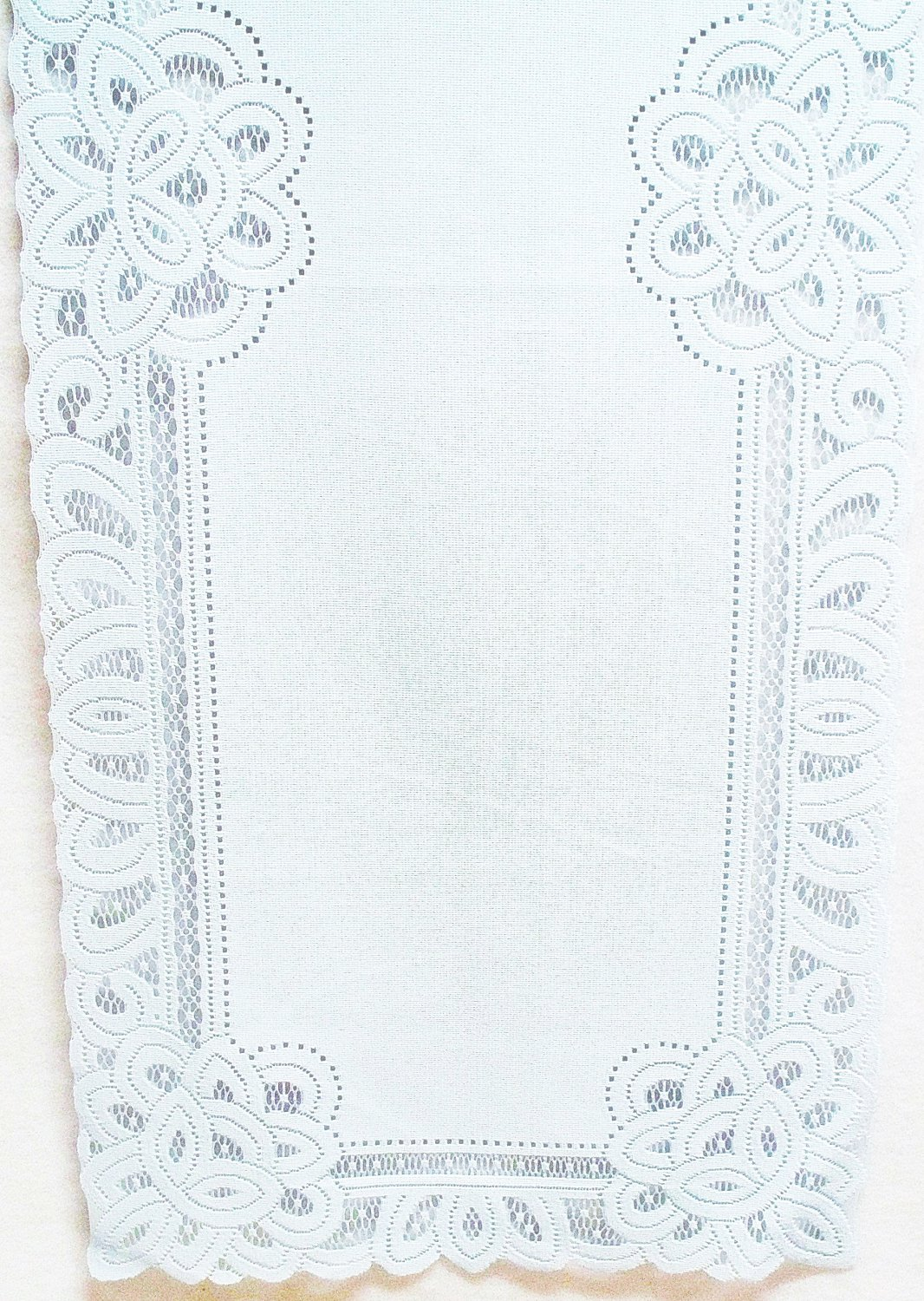 Battenburg Table Runner 14x70 Light Blue Lace/Fabric Table Runner Machine Washable Oxford House