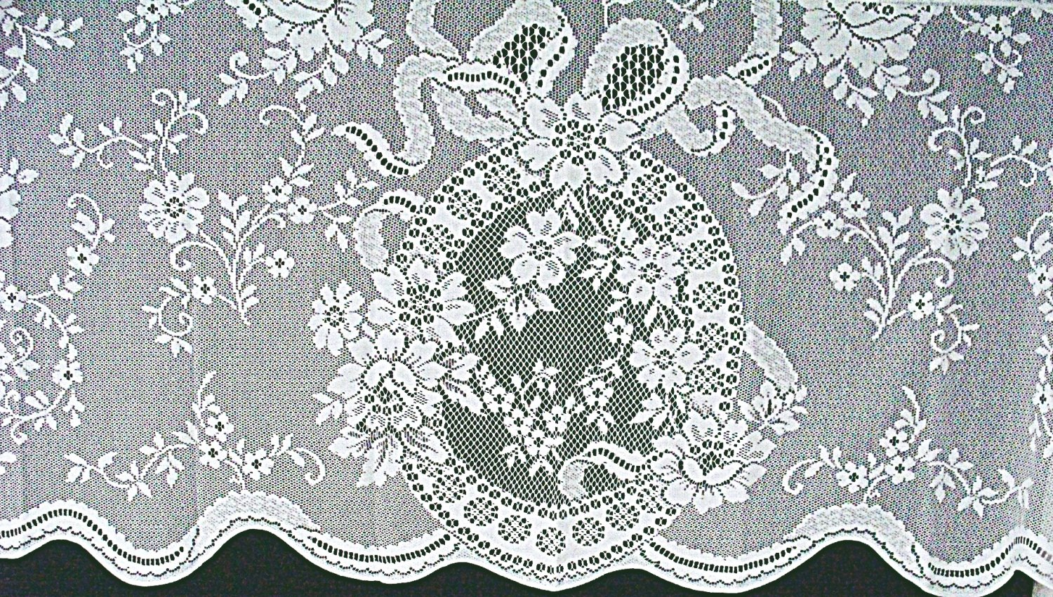 Ainsley Curtain Tier 62 x 29 White Lace Curtain Tier Oxford House