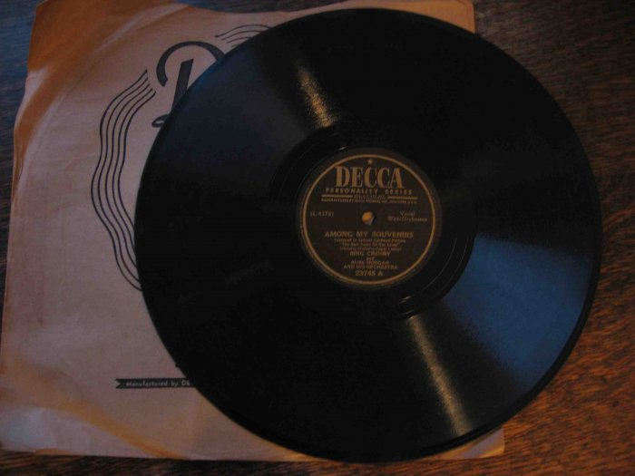 "Bing Crosby 78 rpm record, ""Among My Souvenirs"" b/w ""Does Your Heart Beat for Me?"""
