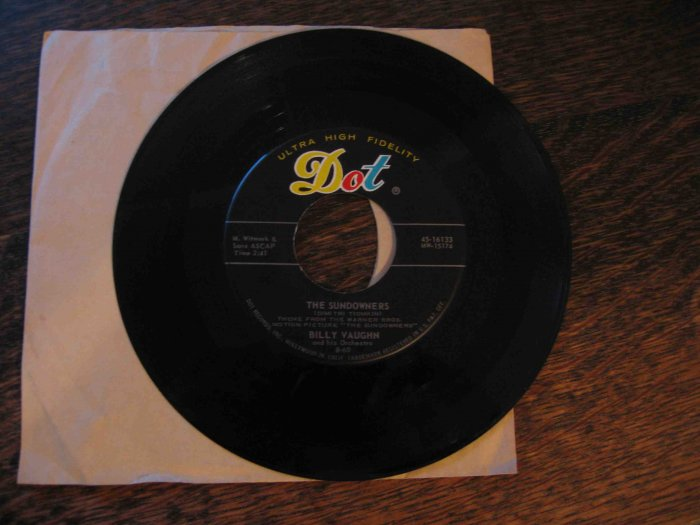 "Billy Vaughn 45rpm single, ""The Sundowners"" b/w ""Old Cape Cod"" (on Dot)"