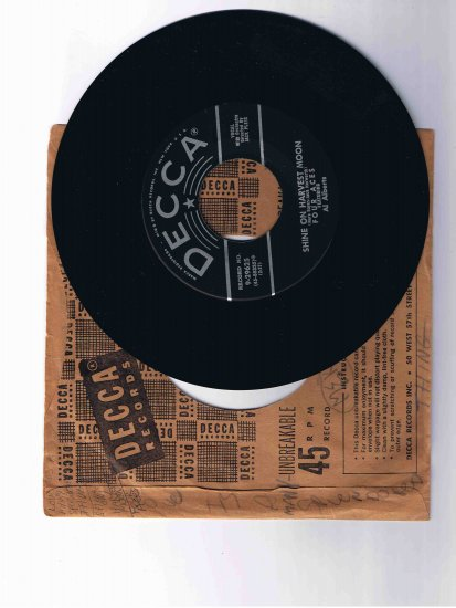 """Four Aces 45rpm single, """"Love Is a Many Splendored Thing"""" b/w """"Shine On Harvest Moon"""""""