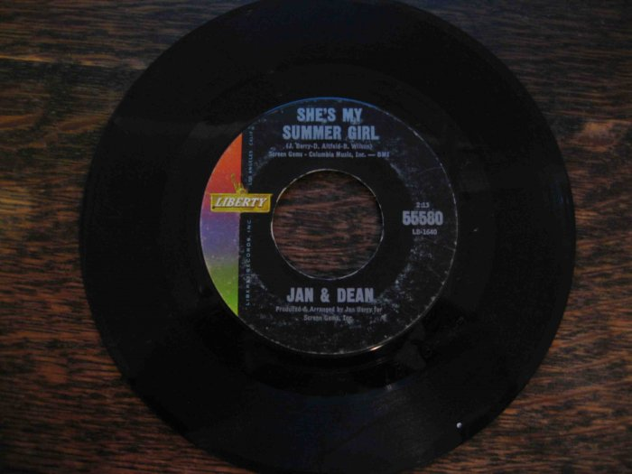 """Jan and Dean 45rpm single, """"Surf City"""" b/w """"She's My Summer Girl"""""""