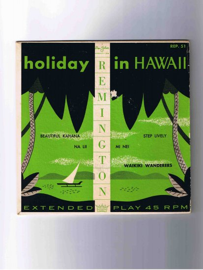 """Waikiki Wanderers 45rpm EP, """"Holiday in Hawaii"""" in picture sleeve"""