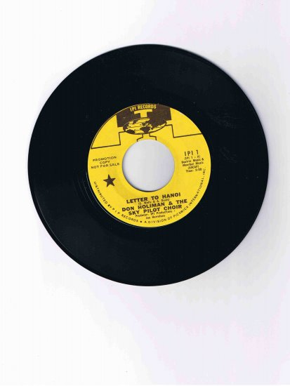 "Vietnam-era 45rpm record, ""Letter to Hanoi"" from Don Holiman & the Sky Pilot Choir"