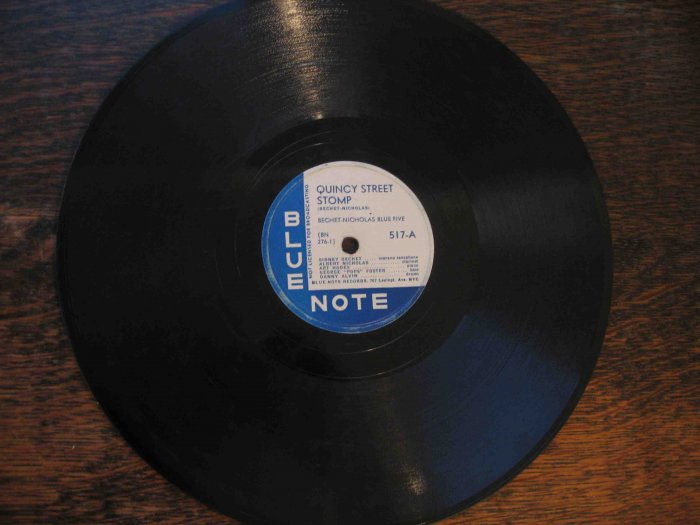 "Sidney Bechet 78 rpm record, ""Quincy Street Stomp"" b/w ""Weary Way Blues"" (Blue Note)"