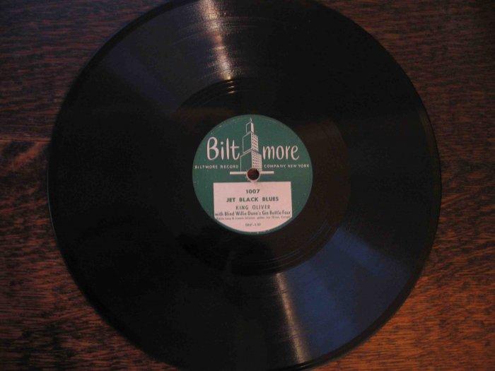 "King Oliver/Blind Willie Dunn 78 rpm record, ""Jet Black Blues""/""Blue Blood Blues"