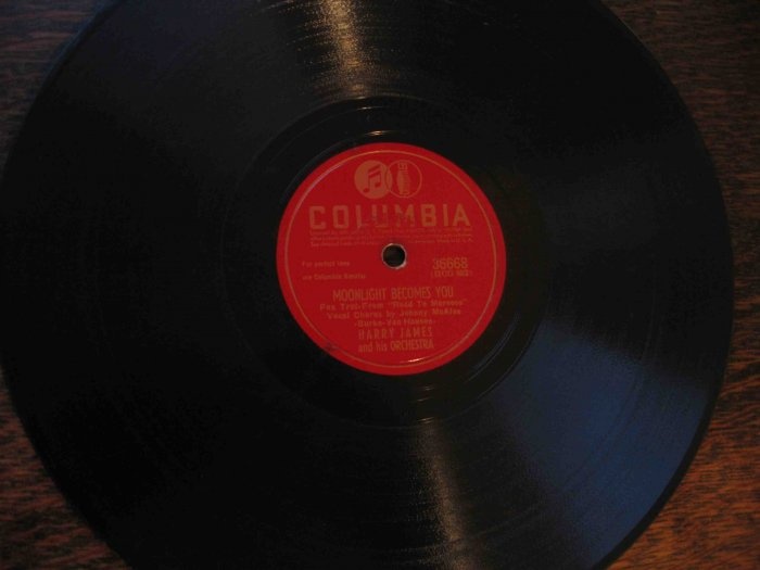 """Harry James 78 rpm record, """"Moonlight Becomes You"""" b/w """"I've Heard That Song Before"""""""
