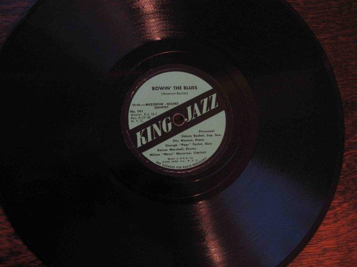 "Sidney Bechet�Milton Mezzrow 78 rpm record, ""Bowin' the Blues"" b/w ""Old School"" (1945)"