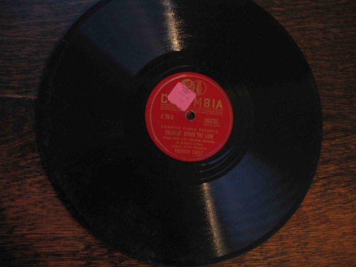 "Frankie Carle 78 rpm record, ""Swingin' down the Lane"" b/w ""The Love Nest"""